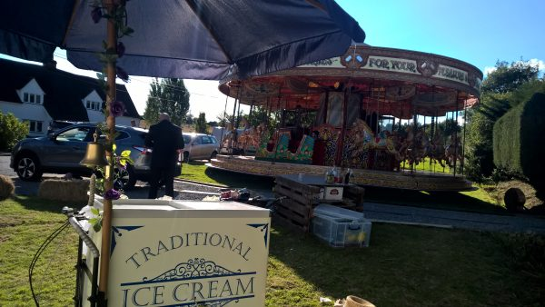 ice cream bicycle at a funfair wedding.